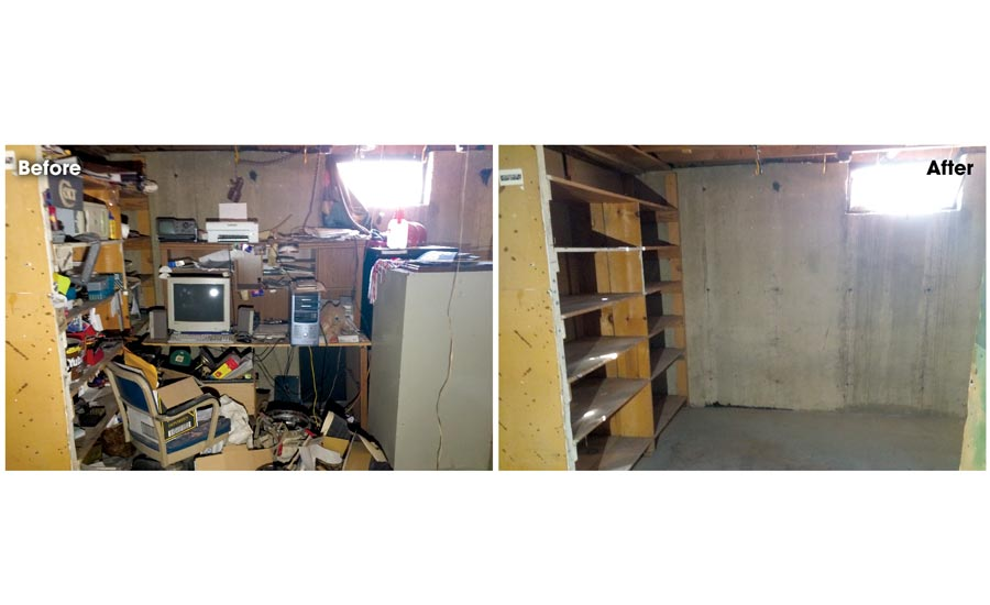 A look at the basement of the home before and after cleanup.