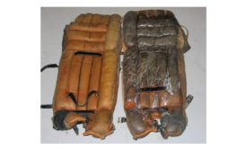 25 year-old goalie pads, before and after cleaning.