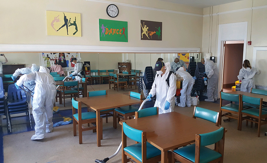 cleaning a school room