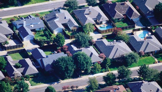 aerial view house roofs