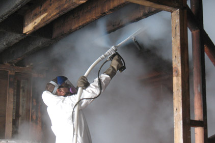 man spraying chemicals remediation