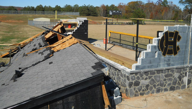 baseball field dugout roof destroyed