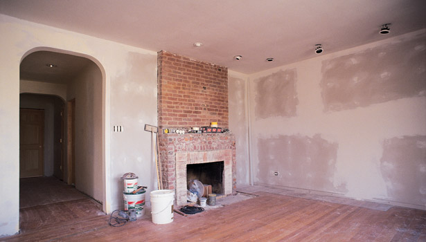 home being renovated fireplace brick