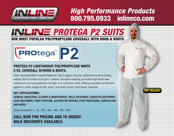 PROtega P2 Lightweight Polypropylene White 2 oz. coverall w/Hood & Boots.